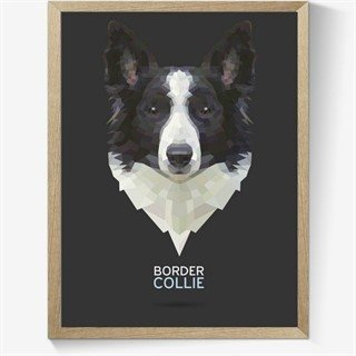 Geometrisk Border Collie plakat