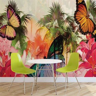 Fototapet-butterflies-palms-flowers-lilies-colours-väggmålning-405wm-animals-fauna