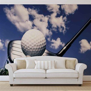 Fototapet-golf-ball-club-sky-clouds-väggmålning-1622wm-sport