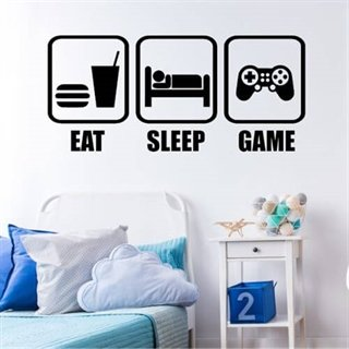 Väggdekor med texten Eat, sleep, game