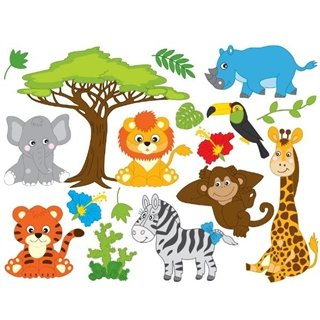 Wallsticker - Ark med Safari djur - Wallstickers