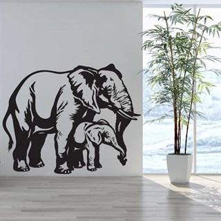 Elefant med babyelefant - Wallstickers