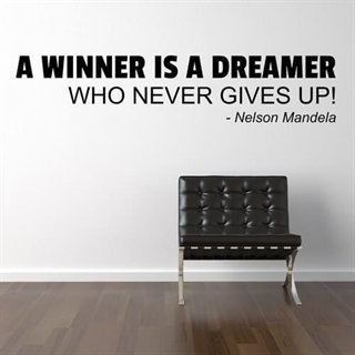 Wallstickers citat med texten. A winner is a dreamer