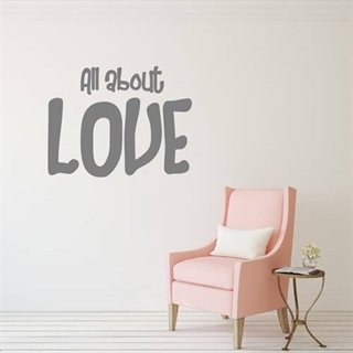 Wallstickers med text All about love
