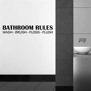 Wallstickers med texten Bathroom Rules