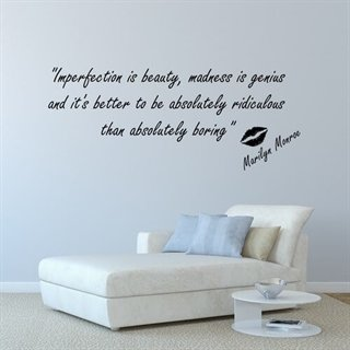 Imperfection is beauty - wallstickers med ett citat av Marilyn Monroe