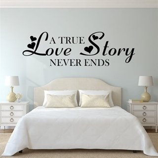 Wallstickers med text True Love Story med hjärtan