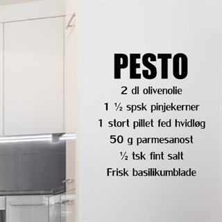 Wallstickers med recept på pesto