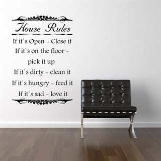 wallstickers med text house rules