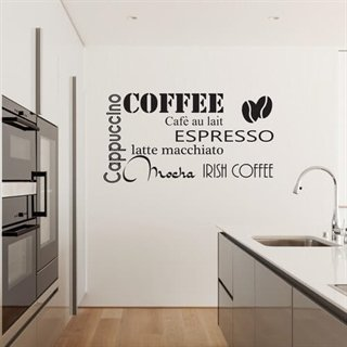 Wallsticker med text om kaffe