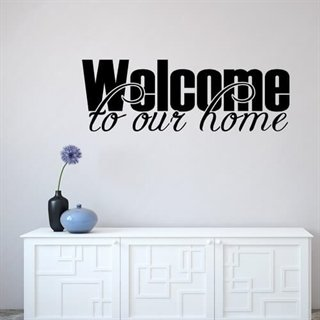 En wallstickers med texten - WELCOME TO OUR Home.