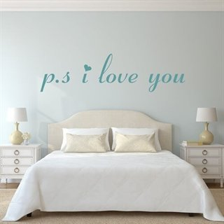 Wallstickers med texten P.s. i love you